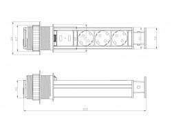 PowerPop-Up 3x 230v + 2x USB Charger
