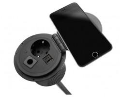 PowerSpot 1x 230v, 1x USB A+C Charger, 1x Doorvoer