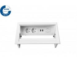 PowerDesk-In 2x230V + 2xUSB Charger + 1xKeystone inbouwunit