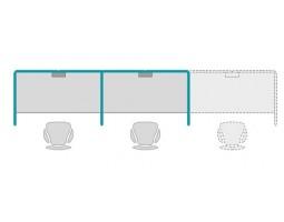 Link blok opstelling met akoestisch dempende wanden 3 werkplekken