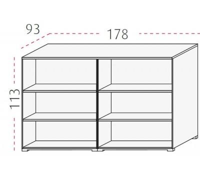 Vier kasten rug aan rug (113 cm hoog)